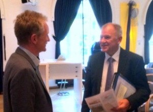Dr Nikolaus Melcop, Vicepresident BPtK and Vytenis Andriukaitis, EU Commissioner for Health and Food Safety